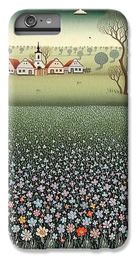Landscape IPhone 6 Plus Case featuring the painting Field Of Wildflowers by Ferenc Pataki