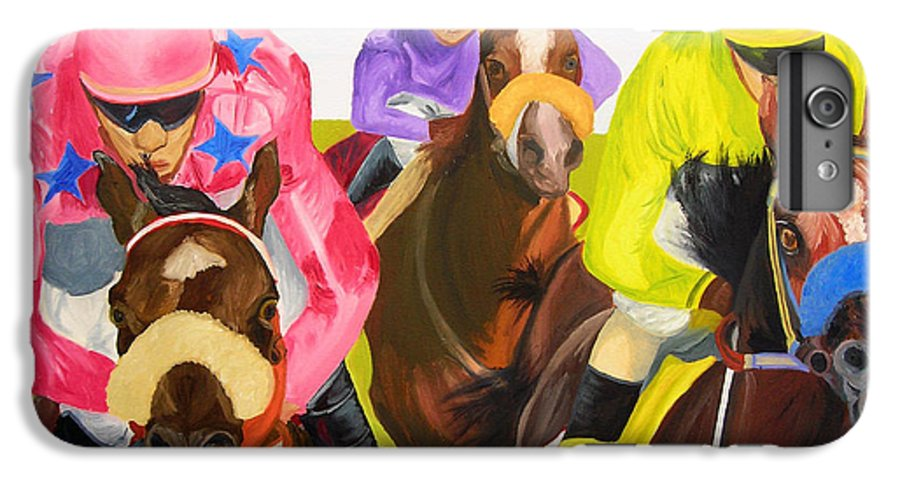 Horse Racing IPhone 6 Plus Case featuring the painting Finish Line by Michael Lee