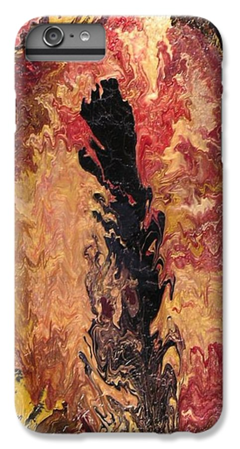 Abstract IPhone 6 Plus Case featuring the painting Fire - Elemental Spirit by Patrick Mock