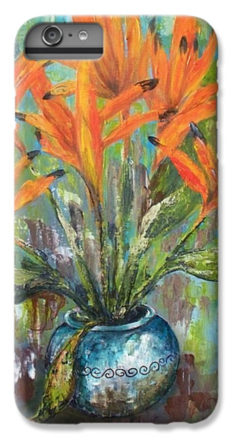 IPhone 6 Plus Case featuring the painting Fire Flowers by Carol P Kingsley