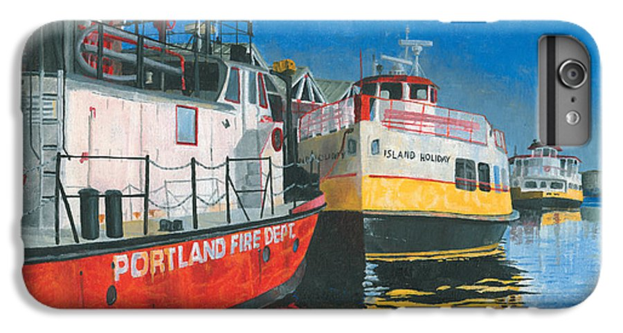 Fireboat IPhone 6 Plus Case featuring the painting Fireboat And Ferries by Dominic White