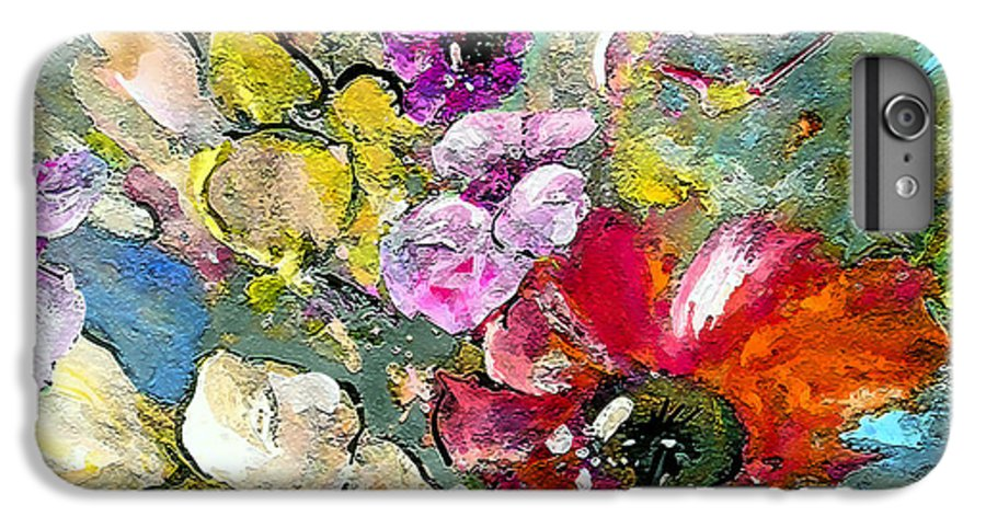 Nature Painting IPhone 6 Plus Case featuring the painting First Flowers by Miki De Goodaboom
