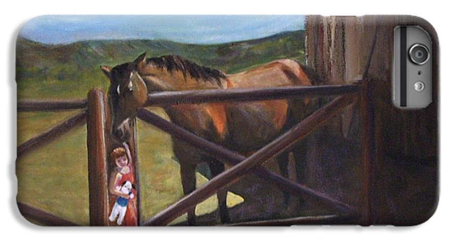 Horse IPhone 6 Plus Case featuring the painting First Love by Darla Joy Johnson