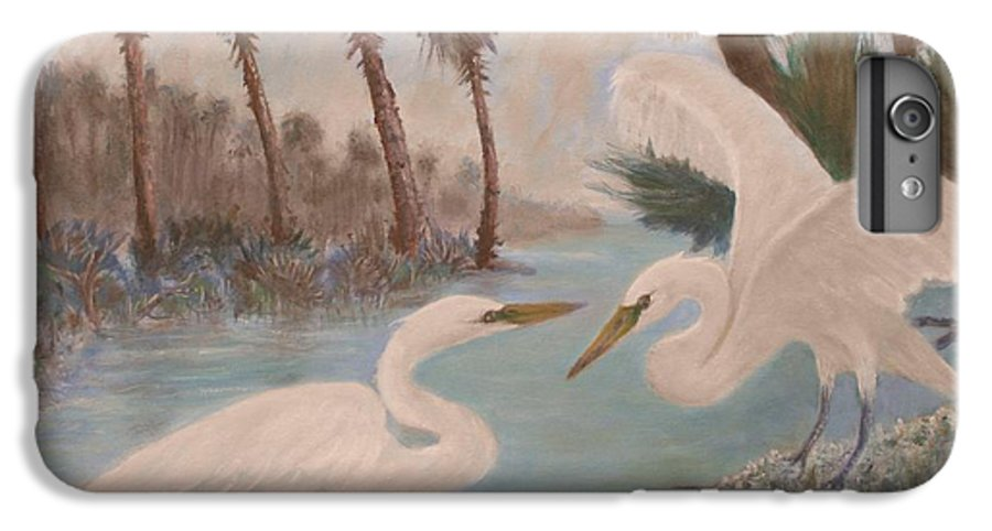 Egret IPhone 6 Plus Case featuring the painting First Meeting by Ben Kiger