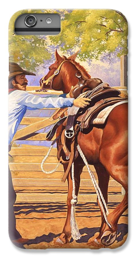 Cowboy IPhone 6 Plus Case featuring the painting First Saddling by Howard Dubois