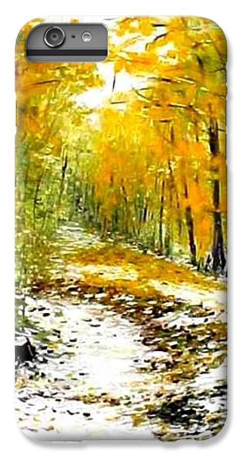 Landscape IPhone 6 Plus Case featuring the painting First Snow by Boris Garibyan