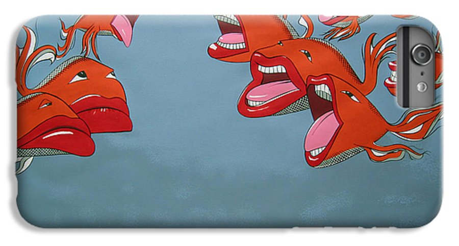 Seascape IPhone 6 Plus Case featuring the painting Fish Fight by Patricia Van Lubeck