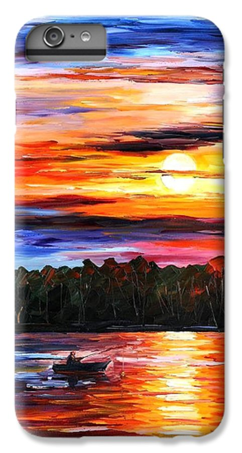 Seascape IPhone 6 Plus Case featuring the painting Fishing By The Sunset by Leonid Afremov