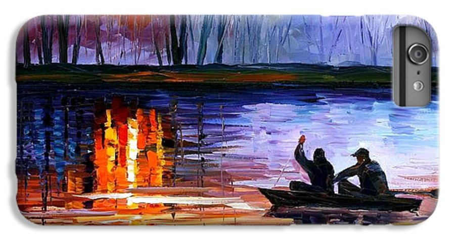 Seascape IPhone 6 Plus Case featuring the painting Fishing On The Lake by Leonid Afremov