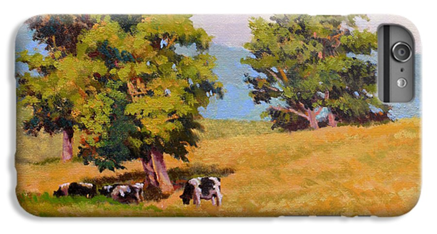 Landscape IPhone 6 Plus Case featuring the painting Five Oaks by Keith Burgess