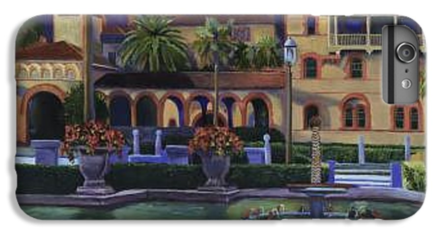 St. Augustine\'s Flagler College Campus IPhone 6 Plus Case featuring the painting Flagler College II by Christine Cousart