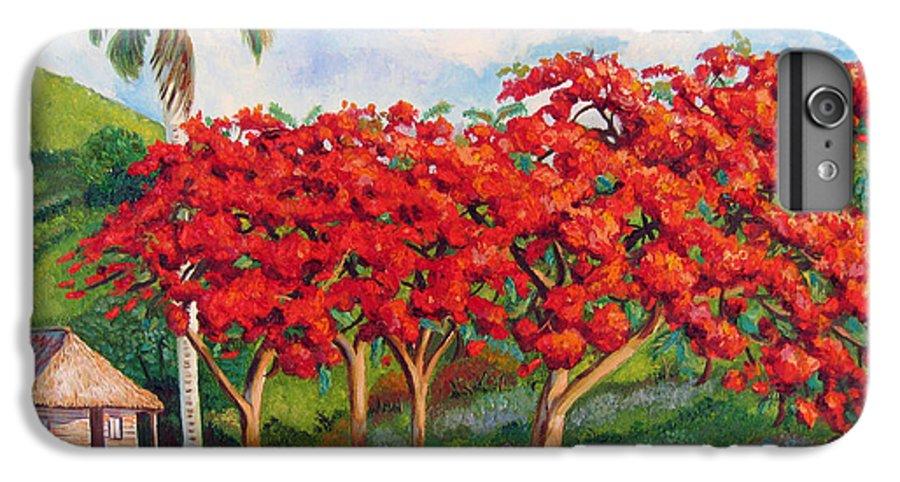 Cuban Art IPhone 6 Plus Case featuring the painting Flamboyans by Jose Manuel Abraham