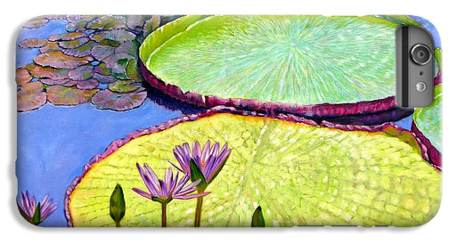 Garden Pond IPhone 6 Plus Case featuring the painting Floating Galaxies by John Lautermilch