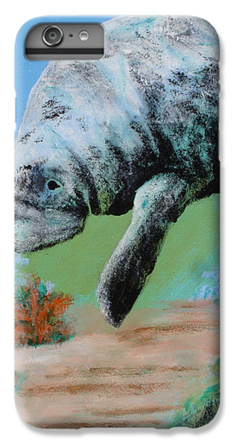 Florida IPhone 6 Plus Case featuring the painting Florida Manatee by Susan Kubes