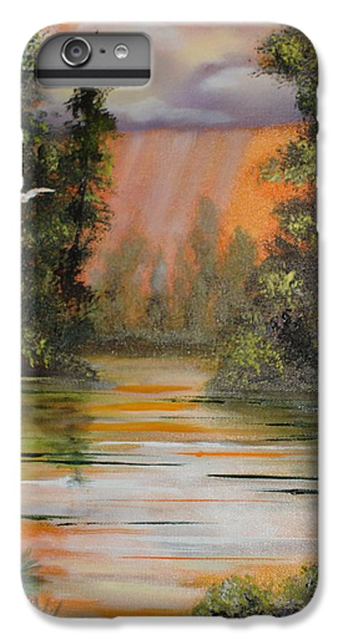 Landscape IPhone 6 Plus Case featuring the painting Florida Thunderstorm by Susan Kubes