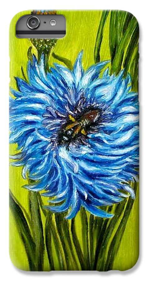 Flower IPhone 6 Plus Case featuring the painting Flower And Bee Oil Painting by Natalja Picugina