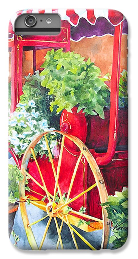 Floral IPhone 6 Plus Case featuring the painting Flower Wagon by Karen Stark