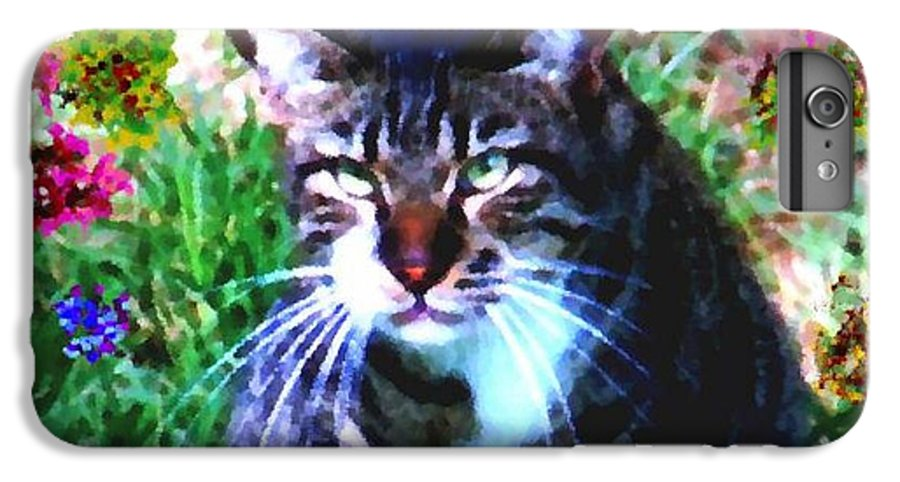 Cat Grey Attention Grass Flowers Nature Animals View IPhone 6 Plus Case featuring the digital art Flowers And Cat by Dr Loifer Vladimir