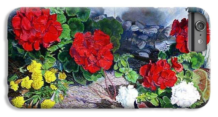 Colorful Flowers Outside Of The Church IPhone 6 Plus Case featuring the painting Flowers At Church by Scott Robertson