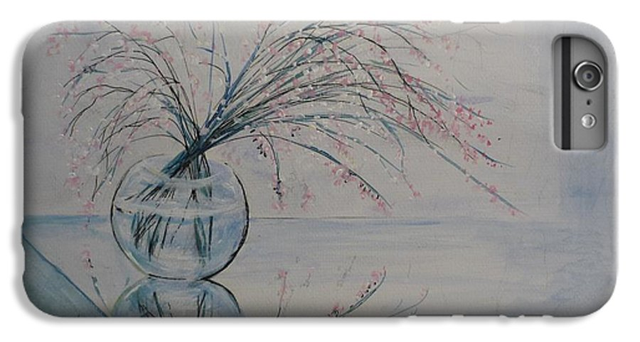 Reflection IPhone 6 Plus Case featuring the painting Flowers Glass Water And Mirror by Lizzy Forrester