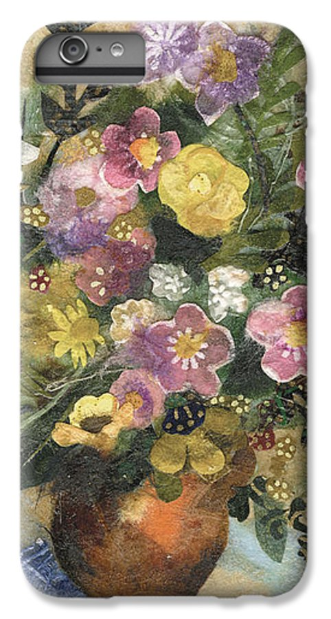 Limited Edition Prints IPhone 6 Plus Case featuring the painting Flowers In A Clay Vase by Nira Schwartz