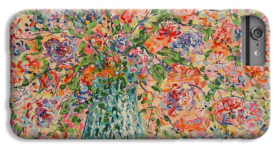 Flowers IPhone 6 Plus Case featuring the painting Flowers In Crystal Vase. by Leonard Holland