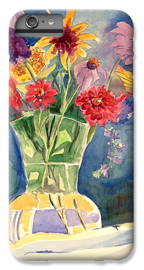 Flowers In Glass Vase IPhone 6 Plus Case featuring the painting Flowers In Glass Vase by Judy Swerlick