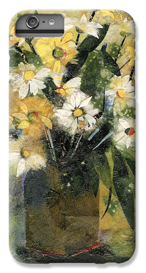 Limited Edition Prints IPhone 6 Plus Case featuring the painting Flowers In White And Yellow by Nira Schwartz