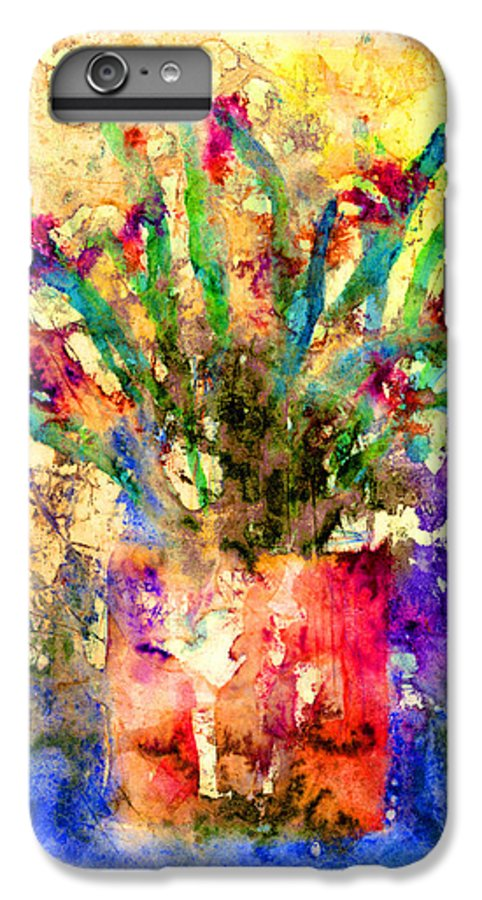 Flower IPhone 6 Plus Case featuring the mixed media Flowery Illusion by Arline Wagner