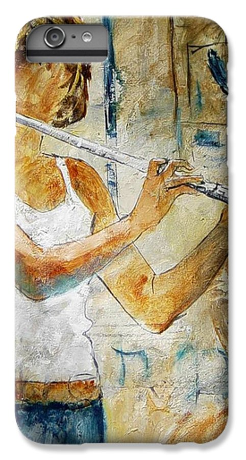 Music IPhone 6 Plus Case featuring the painting Flutist by Pol Ledent