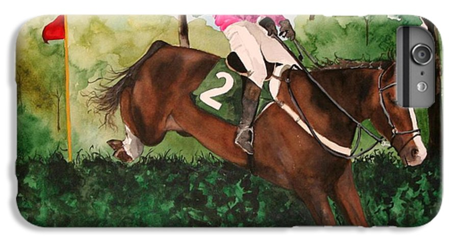 Horse IPhone 6 Plus Case featuring the painting Flying High by Jean Blackmer