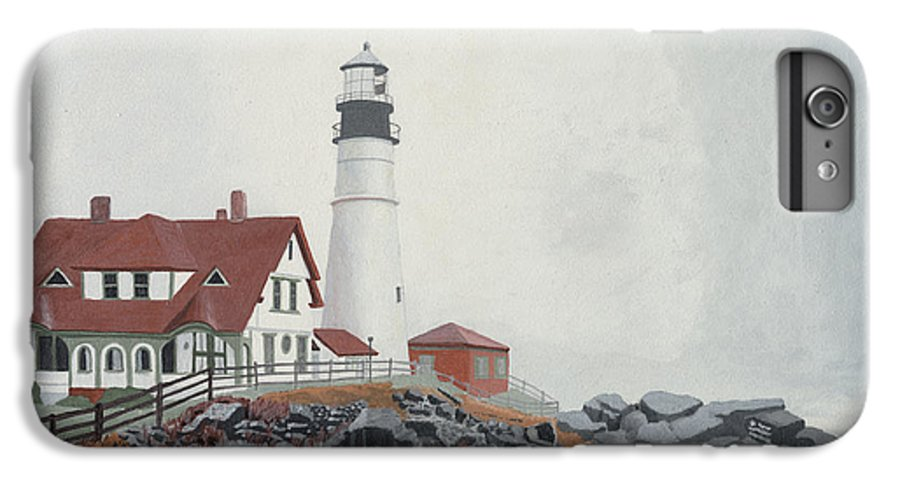 Lighthouse IPhone 6 Plus Case featuring the painting Fog Approaching Portland Head Light by Dominic White