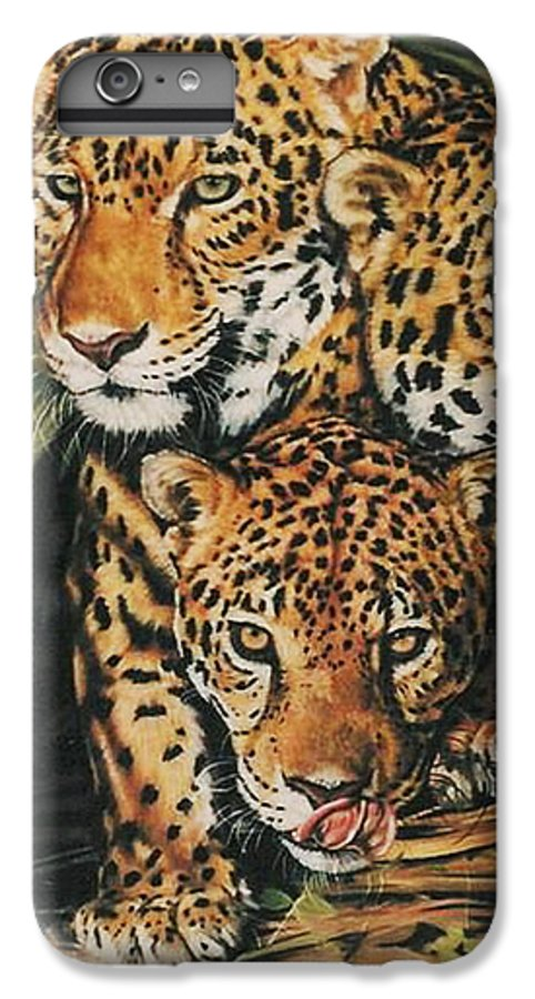 Jaguar IPhone 6 Plus Case featuring the pastel Forest Jewels by Barbara Keith