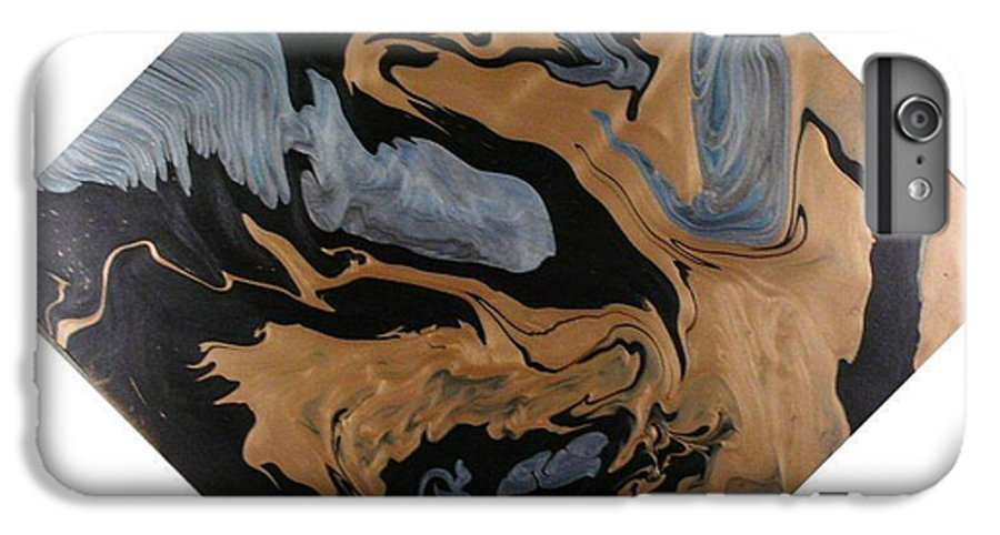Abstract IPhone 6 Plus Case featuring the painting Fossil by Patrick Mock