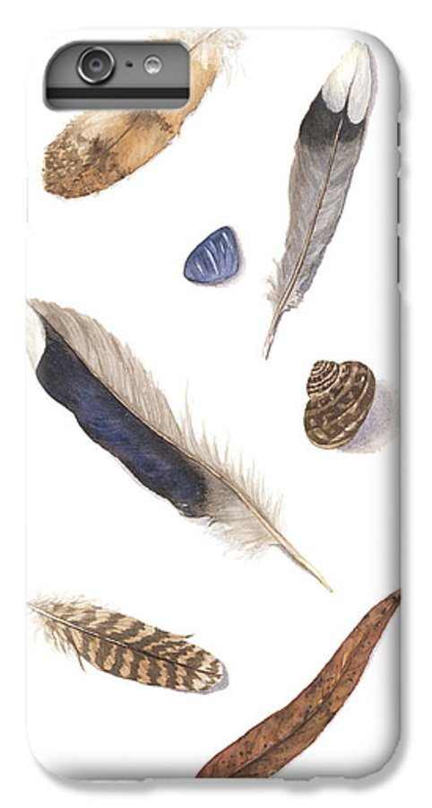 Feathers IPhone 6 Plus Case featuring the painting Found Treasures by Lucy Arnold