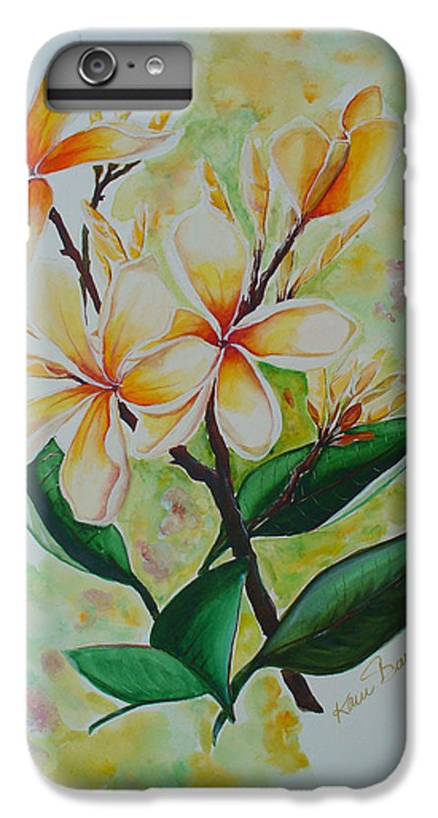 IPhone 6 Plus Case featuring the painting Frangipangi by Karin Dawn Kelshall- Best