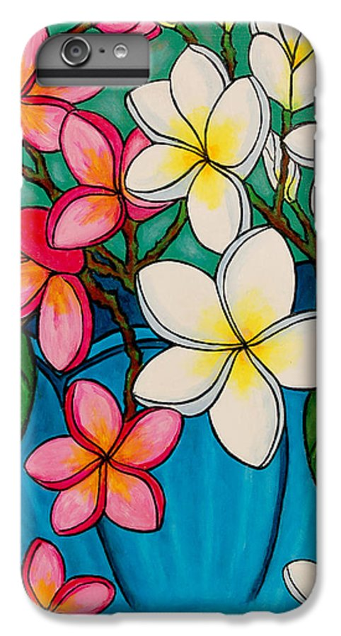 Frangipani IPhone 6 Plus Case featuring the painting Frangipani Sawadee by Lisa Lorenz