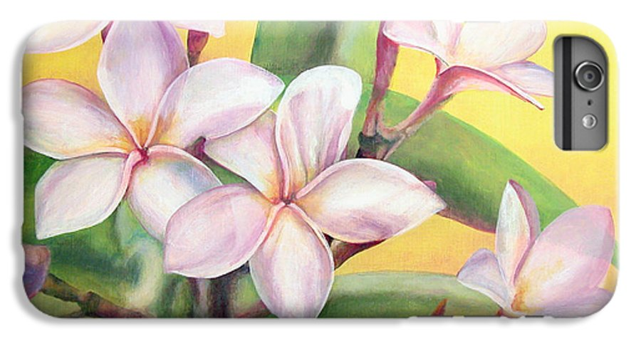 Floral Painting IPhone 6 Plus Case featuring the painting Frangipanier by Muriel Dolemieux