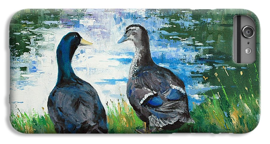 Ducks IPhone 6 Plus Case featuring the painting Fred And Ethel At Scott's Pond by Glenn Secrest