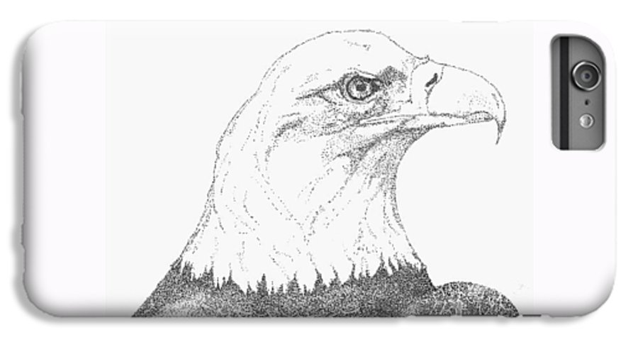 Eagle IPhone 6 Plus Case featuring the drawing Freedom by Debra Sandstrom