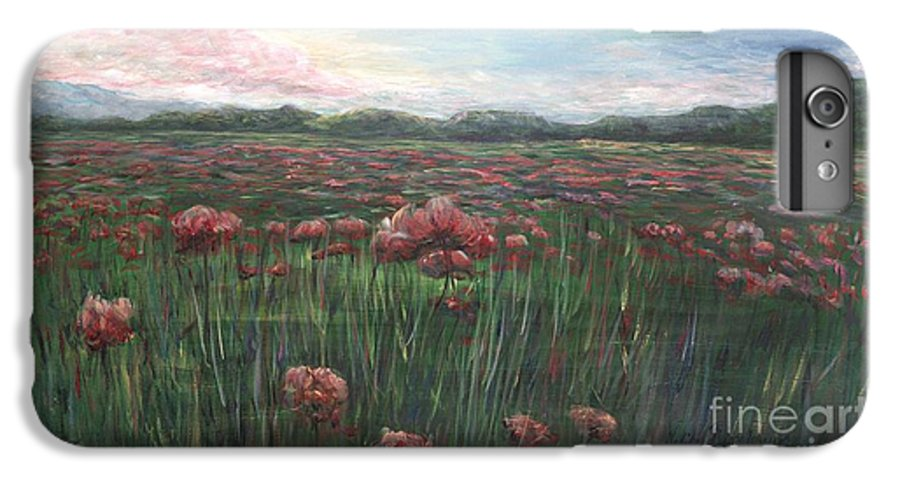 France IPhone 6 Plus Case featuring the painting French Poppies by Nadine Rippelmeyer