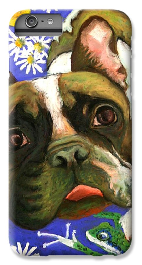 Pet Portrait IPhone 6 Plus Case featuring the painting Frenchie Plays With Frogs by Minaz Jantz