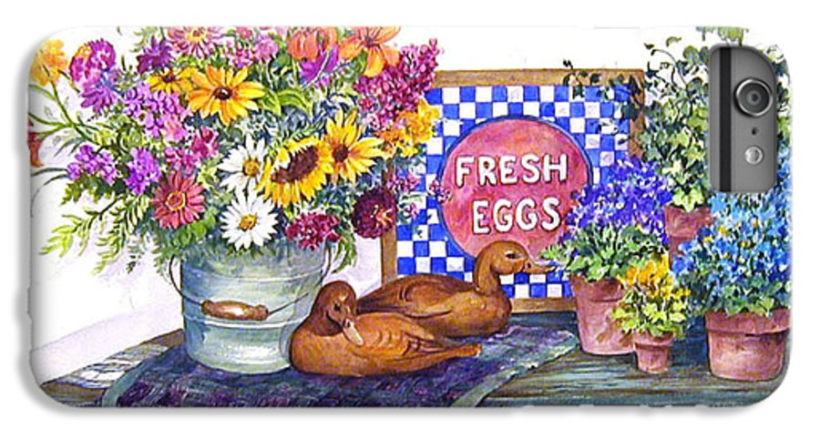 Watercolor;ducks;decoys;floral;mixed Bouquet;potted Plants;checkerboard;quilt; IPhone 6 Plus Case featuring the painting Fresh Eggs by Lois Mountz