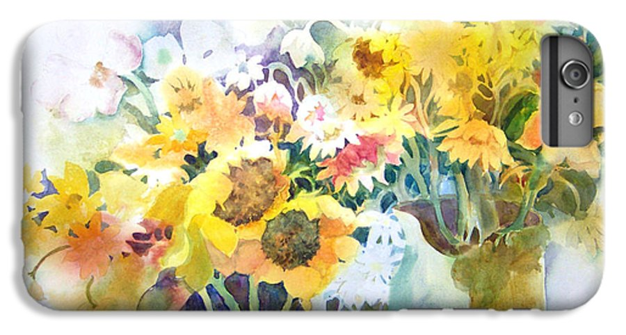 Contemporary;watercolor;sunflowers;daisies;floral; IPhone 6 Plus Case featuring the painting Fresh-picked by Lois Mountz