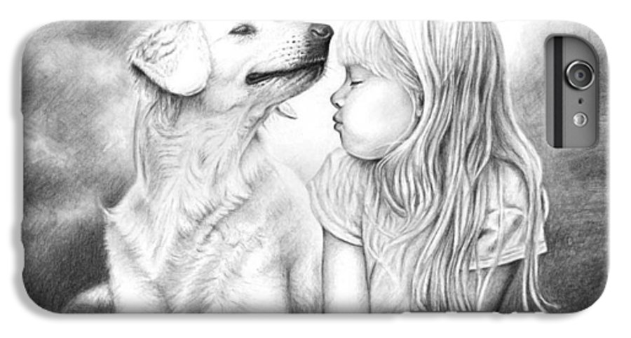 Dog IPhone 6 Plus Case featuring the drawing Friends by Nicole Zeug