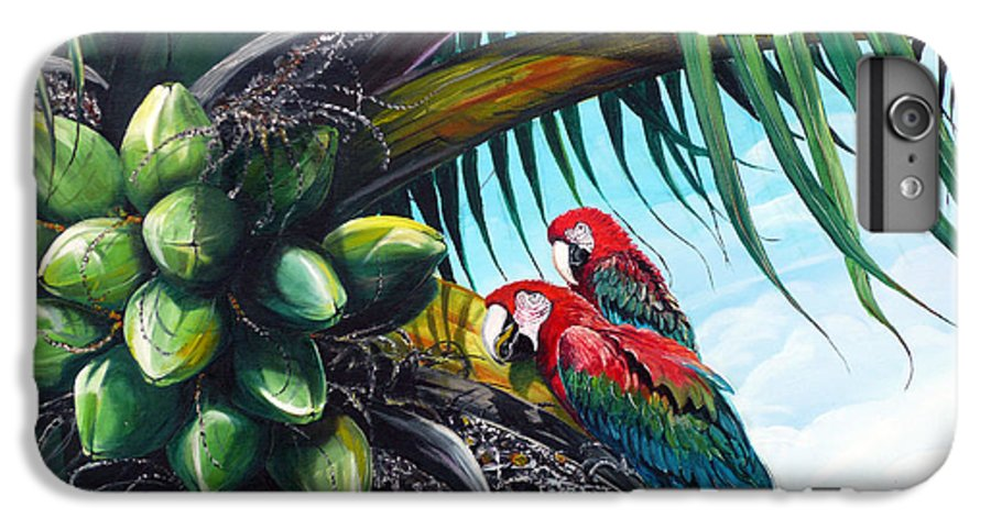 Macaws Bird Painting Coconut Palm Tree Painting Parrots Caribbean Painting Tropical Painting Coconuts Painting Palm Tree Greeting Card Painting IPhone 6 Plus Case featuring the painting Friends Of A Feather by Karin Dawn Kelshall- Best