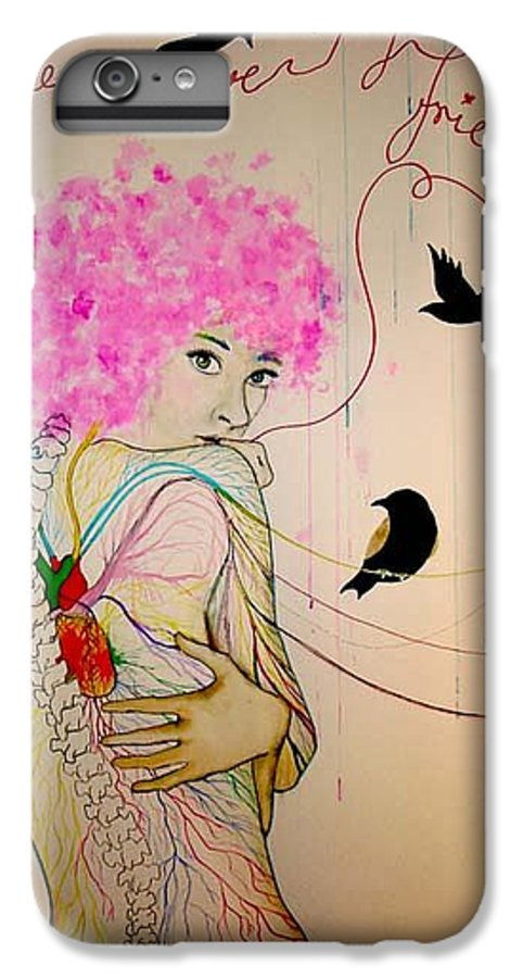 Bird Heart Veins IPhone 6 Plus Case featuring the drawing Friends With Birds by Freja Friborg