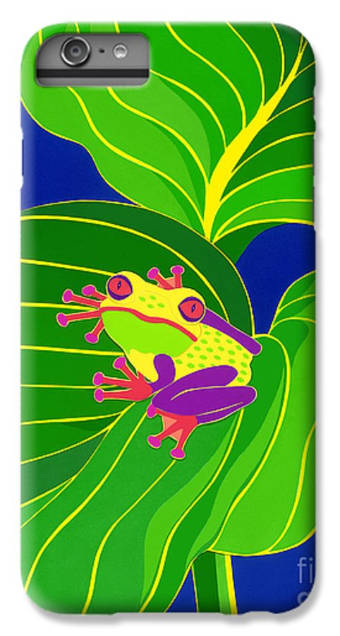 Nature IPhone 6 Plus Case featuring the drawing Frog On Leaf by Lucyna A M Green