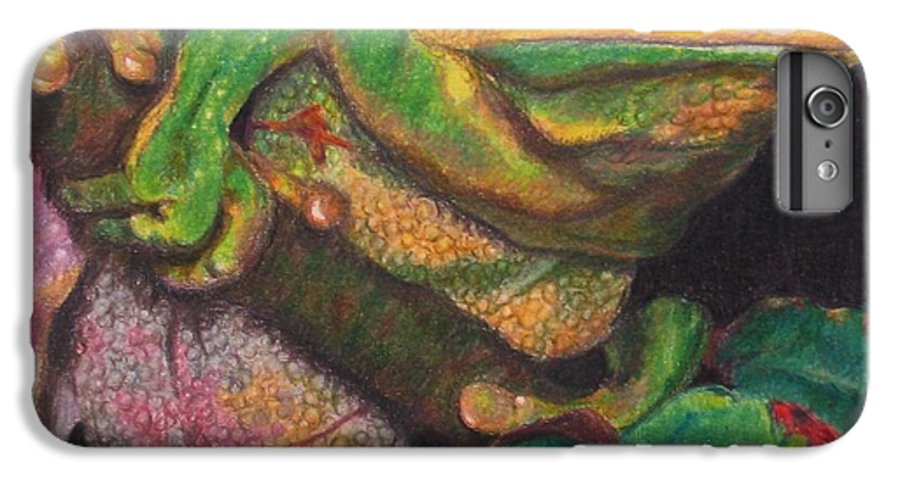 Frog IPhone 6 Plus Case featuring the painting Froggie by Karen Ilari