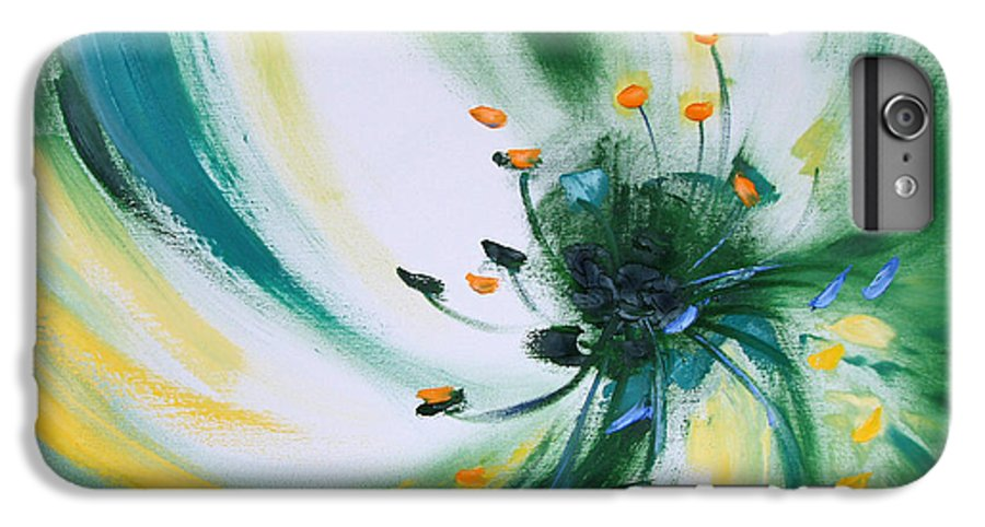 Green IPhone 6 Plus Case featuring the painting From The Heart Of A Flower Green by Gina De Gorna